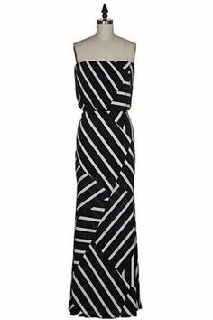 #salediem #blackandwhite #springfashion  STRIPE JERSEY MAXI DRESS.