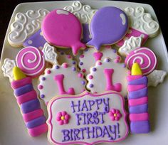 Girls First Birthday Decorated Sugar Cookies by DolceDesserts