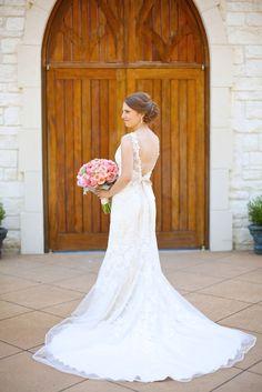 Low V-Back Lace Applique Wedding Dress   Circle Park Bridal Boutique   TC Makeup Studio   Fairy Tale Photography https://www.theknot.com/marketplace/fairy-tale-photography-dallas-tx-349048   Ashton Gardens - Corinth, Texas  