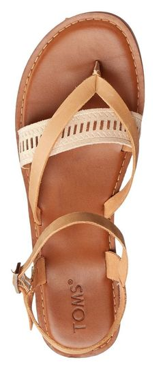 Tom's Lexie sandal in brown/nude. A cushy footbed brings comfort to a chic summer sandal accented with a fun, two-tone woven strap.  Also available in black, taupe, orange, grey and white. Nordstrom. 2018 Fashion trends. perfect for Spring & Summer #affil