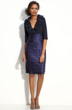 Adrianna Papell Pillow Collar Sheath Dress available at #Nordstrom $158 Sheath Dress, Bodycon Dress, Dresses For Work, Dresses With Sleeves, Satin Skirt, Tiered Dress, Adrianna Papell, Nordstrom Dresses, Bodice