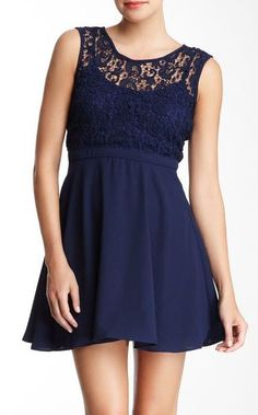 Wow Couture Crocheted Top A-Line Dress