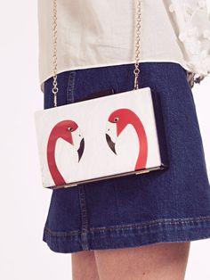 Dahlia Nimes Red Flamingo Box Clutch Bag