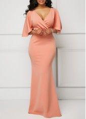 Wrap V Neck Pink Half Sleeve Mermaid Dress   Rosewe.com - USD $34.90