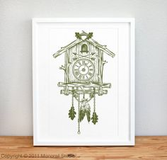 Cuckoo Clock Screenprint 12 x 19 in Choose your color by Monorail, $20.00