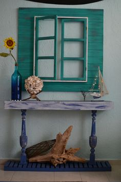false window and credenza. beach inspired. Rustic simple decor. Beach house.  Nautical style. Coastal living. Vintage apartment.