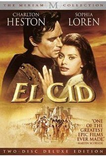 """""""El Cid"""" (1961)--Epic film of the legendary Spanish hero, Rodrigo Diaz (""""El Cid"""" to his followers), who, without compromising his strict sense of honour, still succeeds in taking the initiative and driving the Moors from Spain"""
