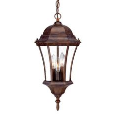 Bring home this elegant 3 Light Outdoor Hanging Lantern, which can be used as an ideal outdoor lighting solution. The frame of the hanging lantern has an intricate design and it flaunts a dome-like structure that adds to its splendor. This 3 Light Outdoor Hanging Lantern is made from clear beveled glass and cast aluminum, which is available in multiple finishes. It requires three 100 Watts bulbs, which are designed to be used in the candle-style holders within the lantern. The cUL listed…