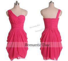 Elegant One Shoulder Pleats Rose Red Short Homecoming Dress/Ruffles Chiffon Wedding Party Dress/Custom Made 0413