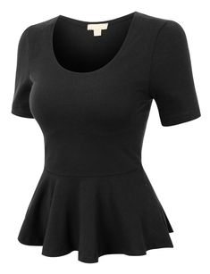 487727c378ae Womens Fitted Scoop Neck Short Sleeve Peplum Top with Stretch (CLEARANCE)