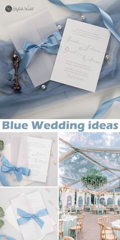 elegant caligraphy wedding invitations with vellum paper pocket and french blue silk ribbon SWPI045 #wedding#weddinginvitations#stylishwedd#stylishweddinvitations #vellumweddinginvitations