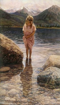 Steve Hanks Paintings..Such detail in the rocks in the water and her shadow on the water