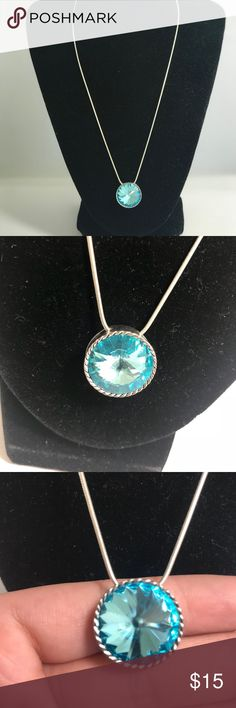 Dazzling Aqua necklace J-289 Dazzling Aqua necklace silver toned necklace Jewelry Necklaces