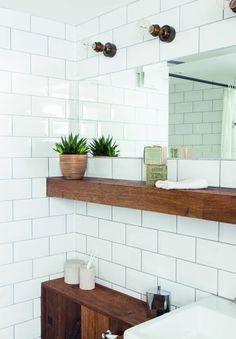 impermo, goedkope tegels, keramisch, keramische wandtegel, metrotegel, badkamer, houten kast, waskom, moderne look