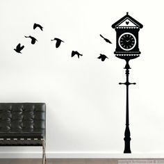 Stickers muraux Animaux - Sticker Grande horloge et oiseaux | Ambiance-live.com