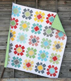 "Woo hoo! How cute is this ""Spin Cycle"" quilt by Allison Harris of Cluck Cluck Sew? The colors just pop all together!"