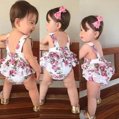 Best 12 Can't get enough of this Cute Floral Baby Girl Shorts and Headband! Baby Ruffle Romper, Baby Girl Romper, Cute Baby Girl, Little Girl Dresses, Baby Girl Newborn, Baby Dress, Baby Outfits, Kids Outfits, Baby Girl Fashion