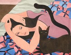 "Kelly Beeman's peculiar paintings are ""windows inside of some distant place"" Art And Illustration, Son Chat, Cat Art, Art Inspo, Watercolor Art, Illustrators, Art Drawings, Artsy, Sketches"