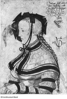 Urs Graf Halblänge der Frau im Profil 1517 - Kleidung Renaissance Fashion, Renaissance Clothing, Larp, 16th Century Fashion, German Costume, German Outfit, Landsknecht, German Women, German Fashion