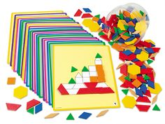 """Plastic Pattern Blocks at Lakeshore Learning  Plastic Pattern Blocks      $19.99  Young children can use our versatile blocks for patterning, counting and problem solving…while older kids can explore early geometry concepts! 250 colorful plastic blocks in a storage tub. item# DA910  Pattern Blocks Activity Cards      $12.99  20 laminated, 8 1/2"""" x 11"""" cards gradually progress in difficulty, helping kids explore patterning, properties of shapes, symmetry and more. item# TH4530"""