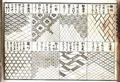 Wafu Works: Old kimono design book Japanese Textiles, Japanese Patterns, Japanese Art, Stencil Patterns, Line Patterns, Japanese Illustration, Graphic Design Illustration, Kimono Design, Textile Design
