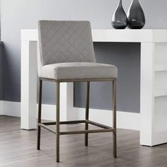 "Taro Bar & Counter Stool Brayden Studio Upholstery: Light Gray, Seat Height: Counter Stool (26"" Seat Height) #Sponsored , #AD, #Stool#Brayden#Studio"