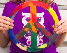 Make a giant crayon peace sign from old, broken crayons. You need a LOT of them!