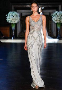 Alon Livne Fall 2016 embellished A-line sleeveless wedding dress | https://www.theknot.com/content/alon-livne-wedding-dresses-bridal-fashion-week-fall-2016