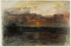"""slickwhippet: """" Joseph Mallord William Turner, Sunset amid Dark Clouds over the Sea, from The Whalers Sketchbook (ca. Watercolor Landscape Paintings, Watercolor And Ink, Art Romantique, Turner Watercolors, Monet, Turner Contemporary, Turner Painting, Joseph Mallord William Turner, Georges Seurat"""