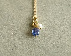 Pearl Tanzanite Necklace, genuine AAA tanzanite, smooth natural blue violet oval, freshwater pearl, chain, 14K goldfilled https://www.etsy.com/shop/bluegreenjewels