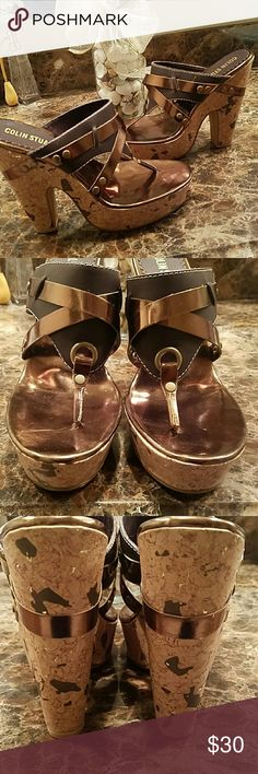 "Colin stuart leather sandals, Sz 8.  NEW! Brand new! Leather upper 5 3/8"" heel with 1 3/8"" platform Speckled cork bottom design  Color is bronze/brown Colin Stuart Shoes Sandals"