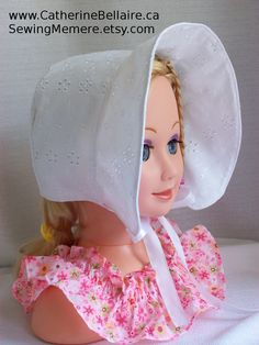 $22.00 Handcrafted QUALITY White Eyelet toddler bonet bonnet summer hat. http://www.CatherineBellaire.ca SewingMemere.etsy.com