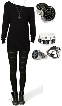 Off Shoulder Jumper, Occult Jewellery, Slashed Leggings Military Boots. Black on Black, rock chick style