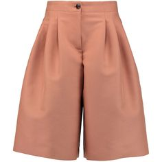 Emilio Pucci Pleated cotton-blend canvas culottes (18,840 MKD) ❤ liked on Polyvore featuring pants, capris, blush, high rise pants, high-waisted trousers, high waisted trousers, high waisted pants and pleated wide leg trousers