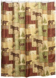 Mountain Moose and Bear Shower Curtain | Cabin Decor Fabric Shower Curtain by Cabin Shower Curtains, http://www.amazon.com/dp/B007XYZ3X0/ref=cm_sw_r_pi_dp_rVWPqb0W9GR4A