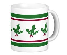 Retro Holly Berries Festive Mug by Purple Cat Arts at #Zazzle. More design and mug styles available to mix and match. #HollyBerries #HolidayParties #HolidayMugs #FestiveMugs #EggNogMugs   Here's the entire collection: http://www.zazzle.com/collections/retro_holly_christmas_dining-119396331801919412?rf=238349130791834337&tc=pinterest