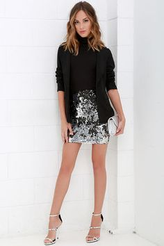 Silver Sequin Dress | Black sequins, Skirts and Sequins