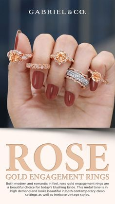 Both modern and romantic in feel, rose gold engagement rings are a beautiful choice for today's blushing bride. This metal tone is in high demand and looks beautiful in both contemporary clean settings as well as intricate vintage styles. ER96711R8K44JJ.CSMO,ER99339K44JJ.CSMO,ER98817R8K44JJ.CSMO-ER914411R8K44JJ.CSMO,ER911865R8K44JJ.CSMO,ER99317K44JJ.CSMO #MorganiteEngagementRing #EngagementRings #RoseGoldEngagementRings #VintageEngagementRings #HaloEngagementRings #RoundEngagementRings Perfect Engagement Ring, Rose Gold Engagement Ring, Vintage Engagement Rings, Morganite Engagement, Bridal Sets, Diamond Jewelry, Wedding Bands, Gold Rings, Vintage Fashion