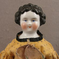 """Antique German 10.5"""" Dolly Madison China Head Doll"""
