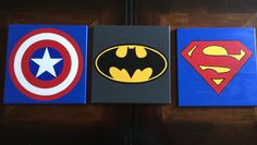 Set Of 3 Superhero Canvas Send Me A Message With The Superheros That You