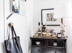 Bianca Sotelo's Office Tour Dresser Bar, Dresser Styling, House Furniture Design, House Design, Home Cocktail Bar, Bright Rooms, Vogue Living, Hobby Room, Bar Carts