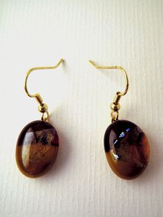 Caramel and garnet glass fusion earrings with by LikeYourJunk, $15.00