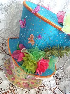 HUGE Gigantic 2.5 ft. Tall Mad Hatter Hat Alice Centerpiece Tea Party Decoration Photo Prop. $190.00, via Etsy.