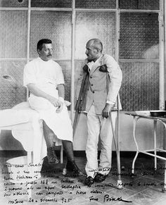 Benito Mussolini, the future Italian dictator on crutches in a hospital, 1917, after being wounded in WW1. His future friend and German dictator, Adolf Hitler, was also wounded on the Western Front. The two would reminisce during their meetings and use their war experiences extensively to show how closely they understood war and its effects.