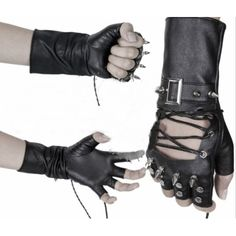 Men & Women Black Faux Leather Spike Studded Tipless Punk Biker Gloves SKU-71102065