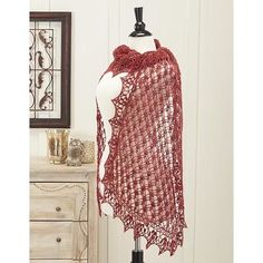 Feel like royalty when wearing the Queen Elizabeth Crochet Stole. This crochet shawl pattern is brilliant with its crown-like border and lightweight design. The deep pomegranate color will easily accent your outfit with elegance and glamor. Crochet Shawls And Wraps, Crochet Scarves, Crochet Clothes, Crochet Sweaters, Knitted Shawls, Shawl Patterns, Crochet Patterns, Crochet Borders, Lace Patterns