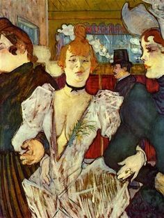 La Goulue Arriving at the Moulin Rouge with Two Women, 1892 by Henri de Toulouse-Lautrec. Post-Impressionism. genre painting. Museum of Modern Art, New York, USA