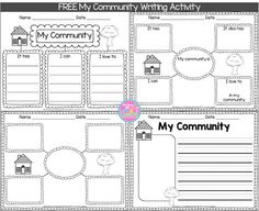 My Community Writing Freebie This week, in Social Studies, my first graders are learning all about communities. To get them to think about what's in their community, I . Kindergarten Social Studies, Social Studies Activities, Teaching Social Studies, Student Teaching, Writing Activities, Teaching Writing, Teaching Map Skills, Community Helpers Kindergarten, Community Workers