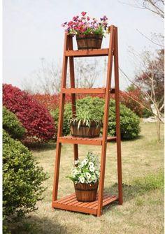 4 Tier Wood Plant Stand Shelf Flower Pot Planter Holder Outdoor Patio Decor  New #ConvenienceConcepts