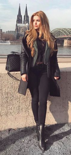 All black | Leather Outfit | European style | Heatonminded